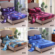 3d Sheet Set Printed Fitted Galaxy Sky Cosmos Night 16and039and039 Deep Pocket All Sizes @