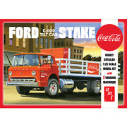 Amt 1147 1/25 Ford C600 Stake Bed W/ Coke Machines Coca-cola Plastic Model Kit