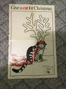 """B. Kliban '75 """" Give A Cat For Christmas"""" Poster Workman Pub Company Large"""