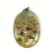 Vintage Oriental Mother Of Pearl Painted Riders On Horseback Polo Pendant