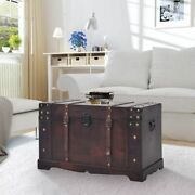 Large Wood Treasure Chest Vintage Coffee Table Storage Trunk Box Latch Handles