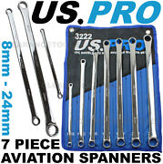 Us Pro 7pc Aviation Double Ended Ring Extra Long Spanner Set 8 - 24mm 3222 Xlong
