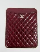 Nwt Cc Quilted Tablet Ipad Case Brilliant Patent Rare Burgundy
