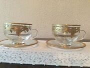 Arte Italica Vetro Gold Coffee Cups And Saucers New Set/4 Glass And 24k Gold 2 Avail