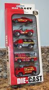 Fire And Emergency Vehicles Diecast Model Red Cars Jeep And Trucks Jin De Le 5-pack