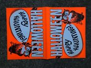 Vintage Halloween Store Display Poster Uncut 2pcs Happy Hunting Owl 1970and039s Nos
