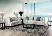 Transitional Style Beige Fabric Living Room Furniture 2pcs Sofa Couch Set Igdt