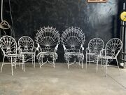 Vintage Set Of 6 Mid Century Wrought Iron Metal Peacock Chairs