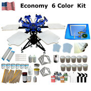Economy 6 Color Screen Printing Kit New Model Silk Screen Press Machine And Ink