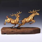 26and039and039bronze Fine Copper Two Deers Living Room Decoration Money Drawing Artwork
