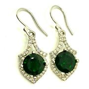 5.9ct Natural Chrome Diopside 925 Silver 9ct 14k 18k Gold Drop Earrings