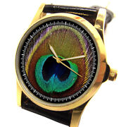 Artistic Peacock Feather Art Beautiful Colorful Ladies 30 Mm Earth Wrist Watch