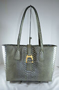 Nwt 328 Dooney Bourke Metal Green Leather Small Shannon Tote