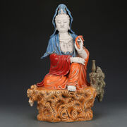 16.9 China Old Antique The Republic Of China Pastel Guanyin Buddha Statue