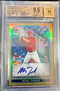 2009 Bowman Chrome Gold Refractor Mike Trout Angels Rc Auto /50 Bgs 9.5 W/ 10