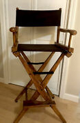 Action Vintage Hand Carved Wood Directors Chair Antique Walnut Finish Great