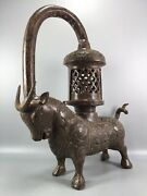 13.9 China Old Antique Bronze Ware Shangzhou Dynasty Cattle Lamp Statue