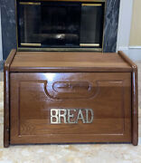"""Vintage Wooden Country Bread Box Solid Wood Brass Letters Hinged Door 16x11x9.5"""""""