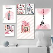 Pink Perfume Cosmetics Lipstick Wall Art Canvas Poster Print Home Picture Decor