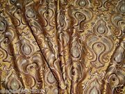 Stroheim And Romann Chatelet Embroidered Silk Fabric 10 Yards Bronze Brown Gold