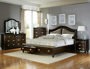 New Traditional Cherry Brown Furniture - 5pcs Queen Size Storage Bedroom Set A65