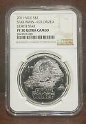 2011 Star Wars Ngc Pf 70 Ultra Cameo Niue 1oz Silver 2 Death Star Colorized