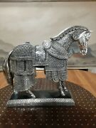 Handmade Trojan Wood Cover By Silver Tin Large Horse Statue Figure Equestrian