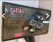 Casino 3 In 1 Wood Game Table Craps Roulette Black Jack Roulette Wheel Chips