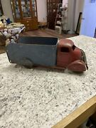 Antique Early Marx Red And Blue Pressed Steel Delivery Truck W/ Wooden Wheels