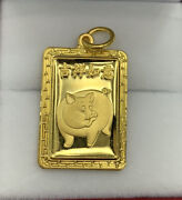 Zodiac 24k Solid Yellow Gold Animal Sign Pig Rectangle Charm/ Pendant, 6.08grams