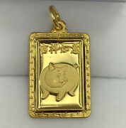 Zodiac 24k Solid Yellow Gold Animal Sign Pig Rectangle Charm/ Pendant, 3.88 Gr