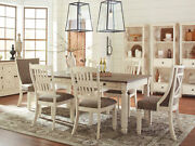 Traditional White Dining Room Furniture 7 Pieces Set W/ Rect Table Chairs Ic1g