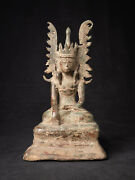 Antique Bronze Crowned Buddha Statue From Burma 17th Century