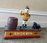 Vintage Cast Iron Mechanical Bank Clown And Trick Dog Hand Painted Works