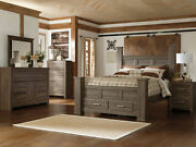 Modern Brown Finish Bedroom Furniture - 5pcs Set W/ Queen Poster Storage Bed A07