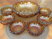 1950's Vintage Amber Glass Bowl Set Of 7, By Colony By Indiana Glass
