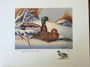 Maryland 1974 Fos Duck Stamp Print, John Taylor, A/s Stamp Remarque 68/200