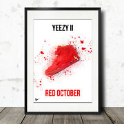 Nike Air Yeezy 2 Red October Artwork Poster Print - Limited Edition - A4 / A3