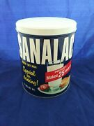 Vintage Sanalac Nonfat Dry Milk Advertising Tin Metal Can Excellent Condition