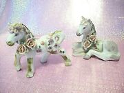Super Rare Vtg Horses Standing And Sitting Pink Roses Unicorn Looking Figurines