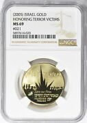 Israel 2005 Gold 30mm Honoring Terror Victims Medal Ngc Ms-69