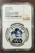 2011 Star Wars Ngc Pf 68 Niue 1oz Silver 1 R2-d2 Silvered/colorized