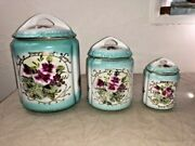 Limoges China Nesting Jars Teal Pansy Canisters Gold Flowers Set Antique Painted
