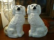 Stunning Antique Large Matching Pair Staffordshire Spaniel Dog Statues 15