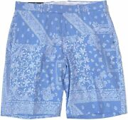 Menand039s Golf Light Blue/white Paisley Performance Casual Shorts