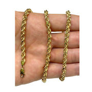 14k Solid Yellow Gold Rope Chain Necklace Mens Women 5.0mm Sz 30 Inch