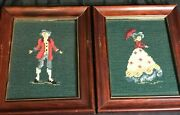2 Vintage Colonial Man And Woman Cross Stitch - Needlepoint Framed