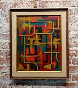 Yancey - 1958 Mid Century Modern Labyrinth Abstract - Oil Painting