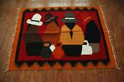 Mexican Wool Rug Handmade Woven Wall Tapestry 47 X 62 Portrait Boho Fringe