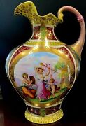 Gorgeous Neoclassic Antique 1890s Royal Vienna Beehive Gold Porcelain Vase Ewer
